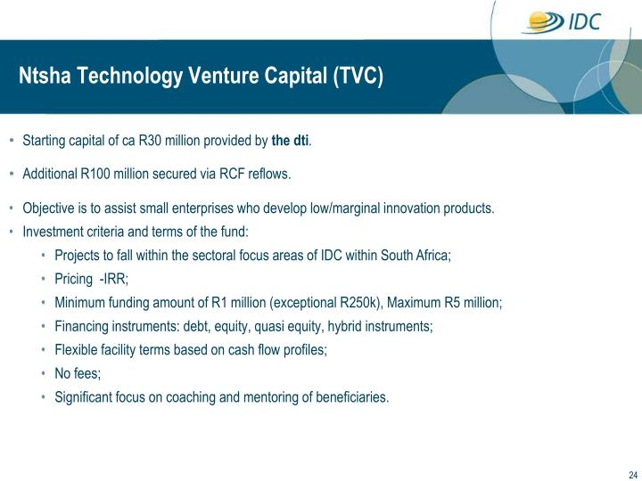 Ntsha Technology Venture Capital (TVC)
