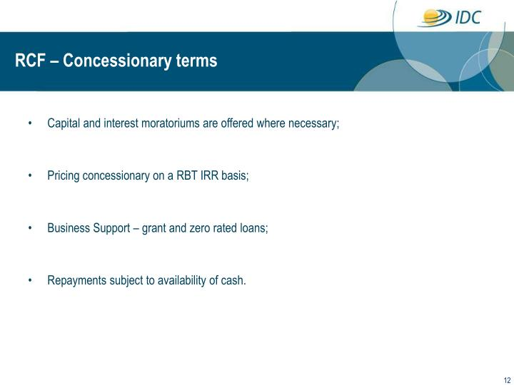 RCF – Concessionary terms