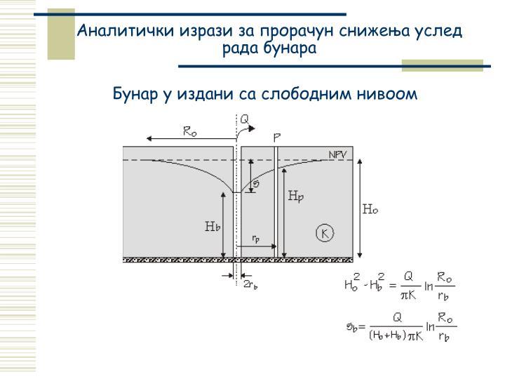 Аналитички изрази за прорачун снижења услед рада бунара