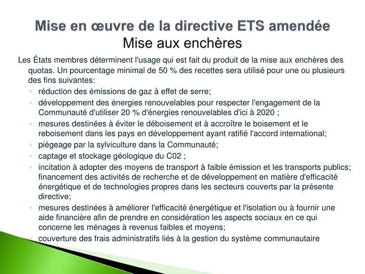 Mise en œuvre de la directive ETS amendée