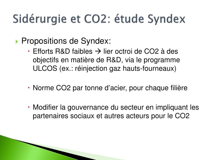 Sidérurgie et CO2: étude Syndex