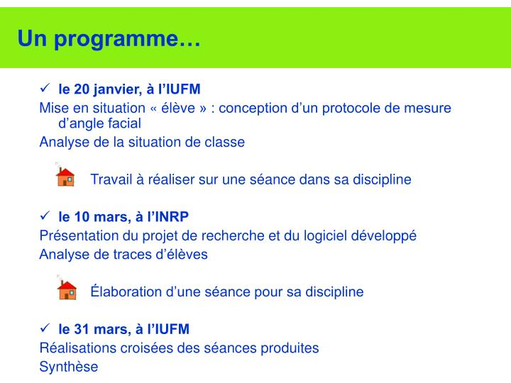 Un programme…
