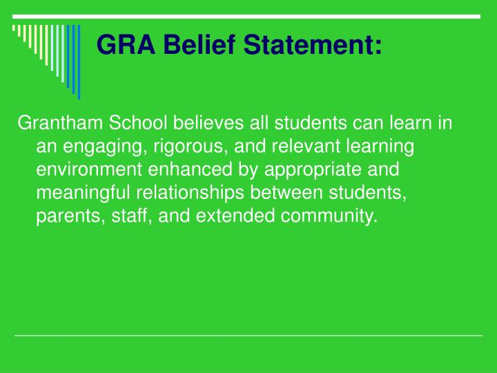GRA Belief Statement: