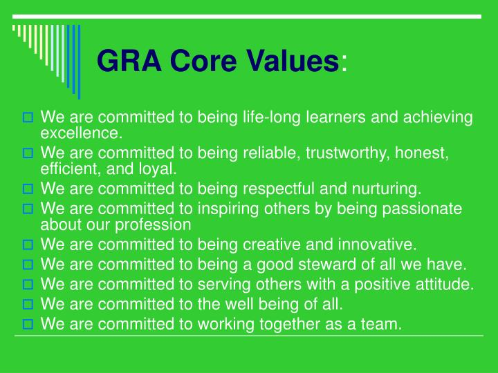 Gra core values