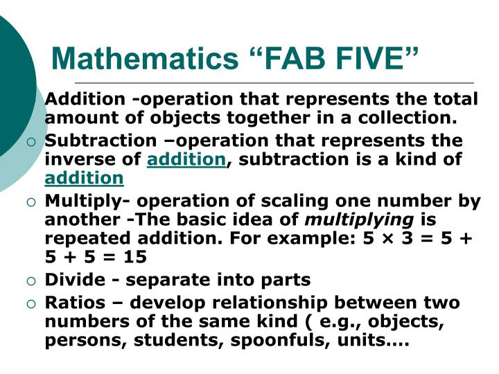 "Mathematics ""FAB FIVE"""