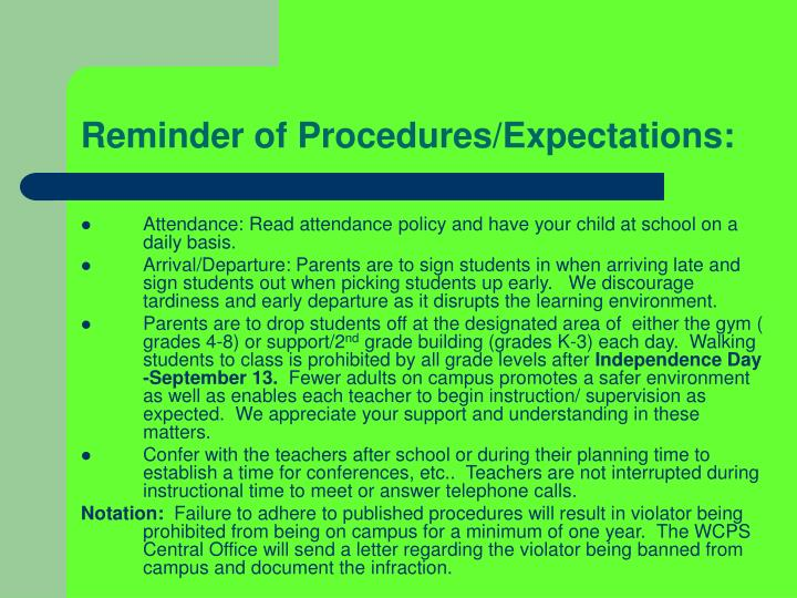 Reminder of Procedures/Expectations:
