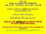 che 133 make up laboratory exercise mon 11 19 2 00 pm or tue 11 20 2 30 pm