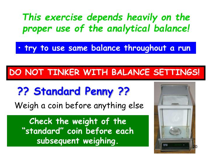 This exercise depends heavily on the proper use of the analytical balance!