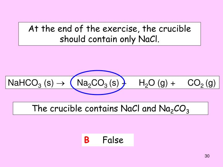 At the end of the exercise, the crucible should contain only NaCl.