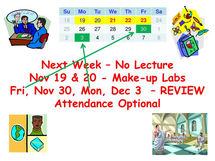 Next Week – No Lecture