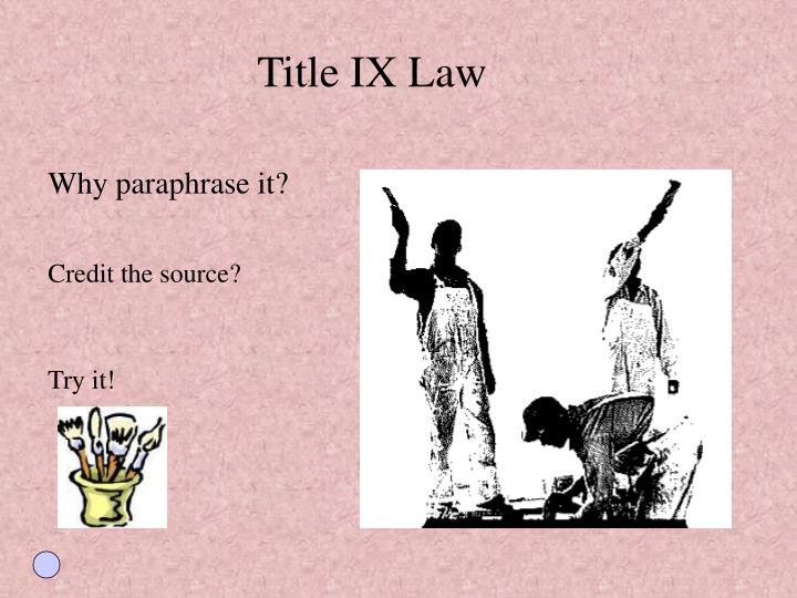 Title IX Law