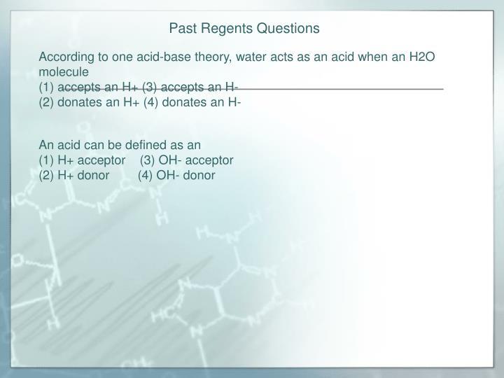 Past Regents Questions