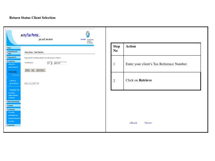 Return Status Client Selection