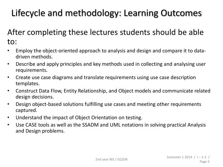Lifecycle and methodology: Learning Outcomes