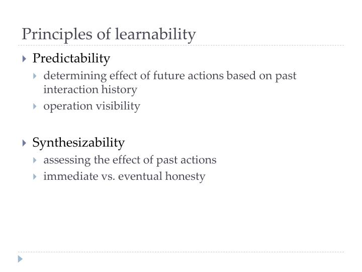 Principles of learnability