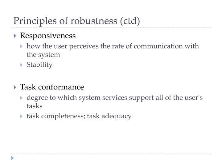 Principles of robustness (ctd)