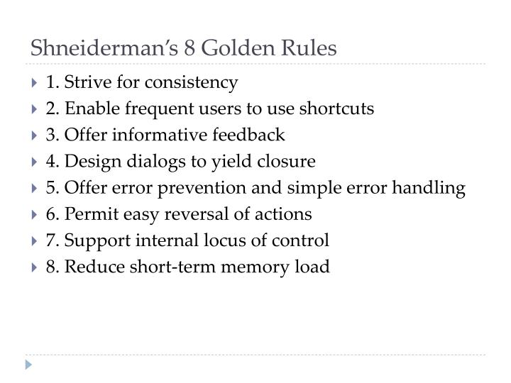 Shneiderman's 8 Golden Rules