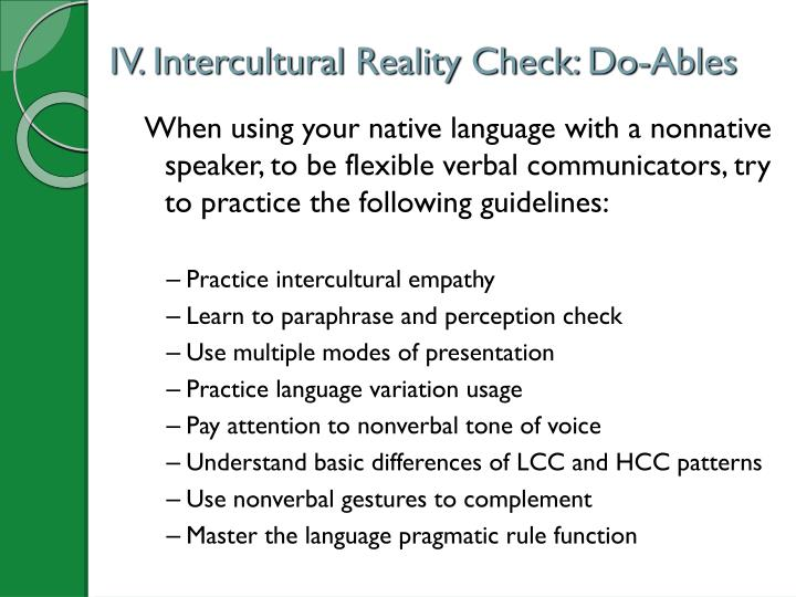 IV. Intercultural Reality Check: Do-