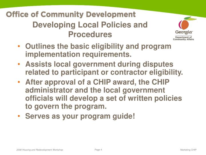 Developing Local Policies and Procedures