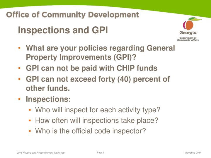 Inspections and GPI