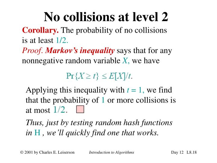 No collisions at level 2