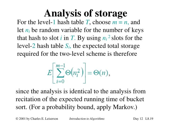 Analysis of storage
