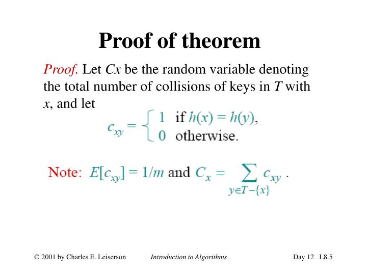 Proof of theorem