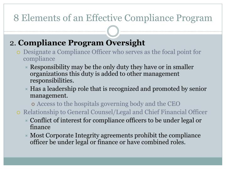8 Elements of an Effective Compliance Program