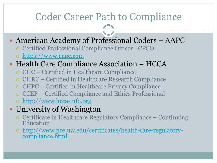 Coder Career Path to Compliance