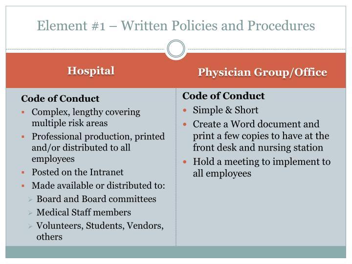Element #1 – Written Policies and Procedures