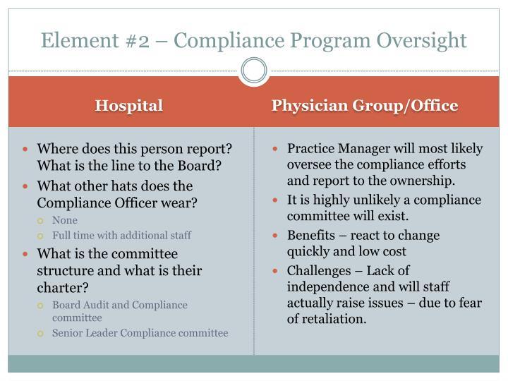 Element #2 – Compliance Program Oversight