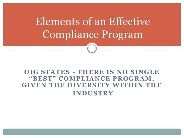 Elements of an Effective Compliance Program