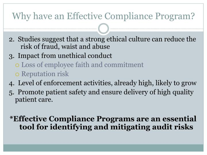 Why have an Effective Compliance Program?