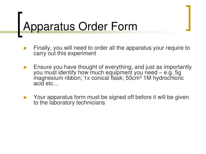 Apparatus Order Form