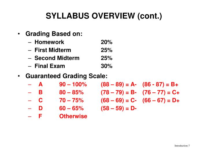 SYLLABUS OVERVIEW (cont.)