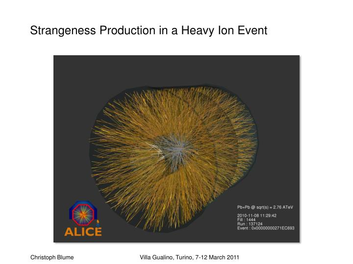Strangeness Production in a Heavy Ion Event