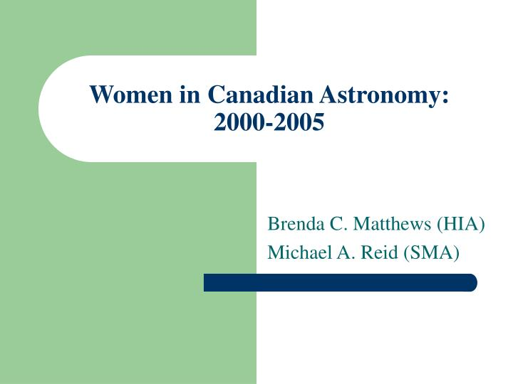 Women in canadian astronomy 2000 2005
