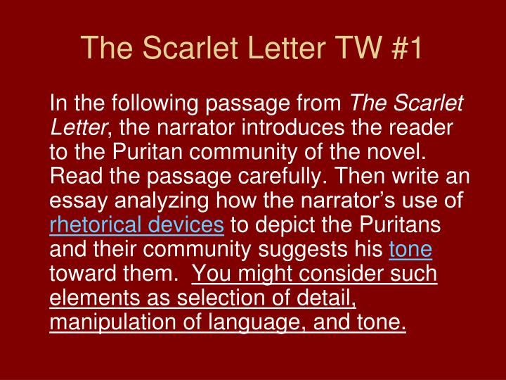 The Scarlet Letter TW #1
