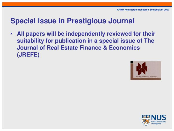Special Issue in Prestigious Journal