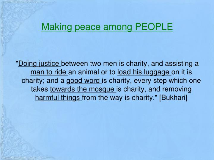 Making peace among PEOPLE