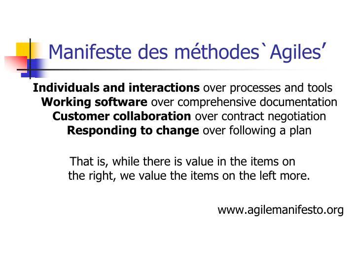 Manifeste des méthodes`Agiles