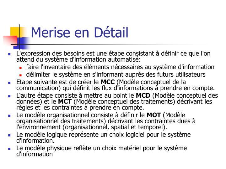 Merise en Détail