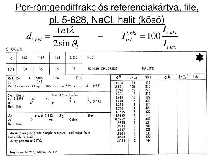 Por-röntgendiffrakciós referenciakártya, file,