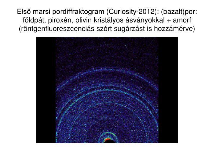 Első marsi pordiffraktogram (Curiosity-2012): (bazalt)por: