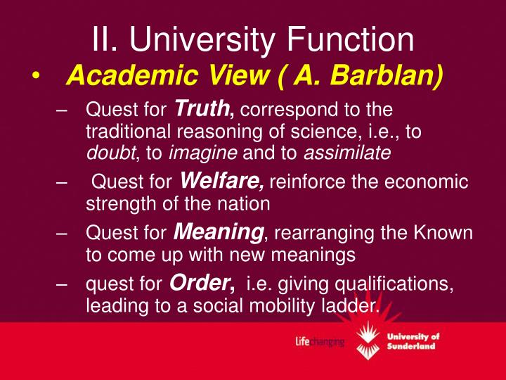 II. University Function