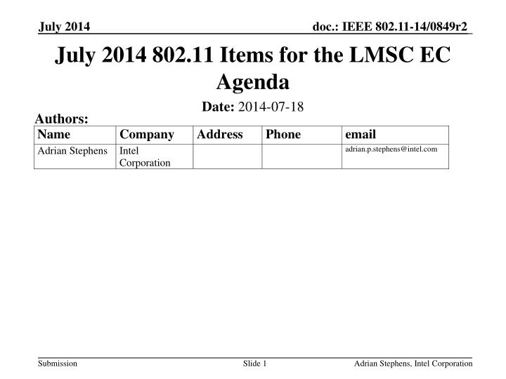 July 2014 802 11 items for the lmsc ec agenda