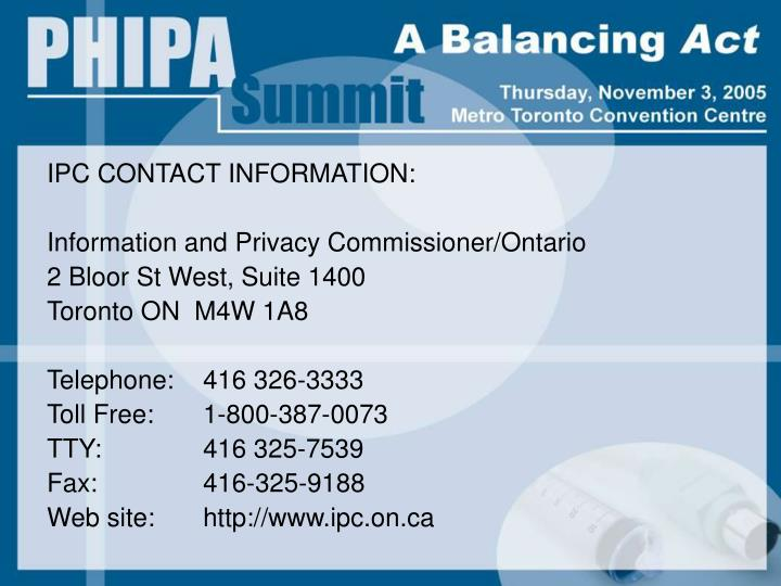 IPC CONTACT INFORMATION: