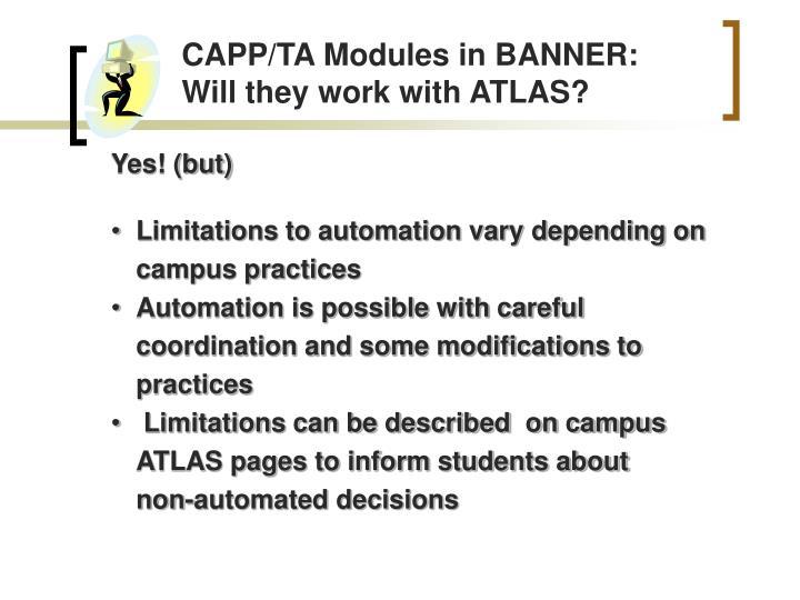 CAPP/TA Modules in BANNER: