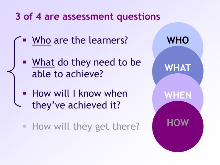 3 of 4 are assessment questions