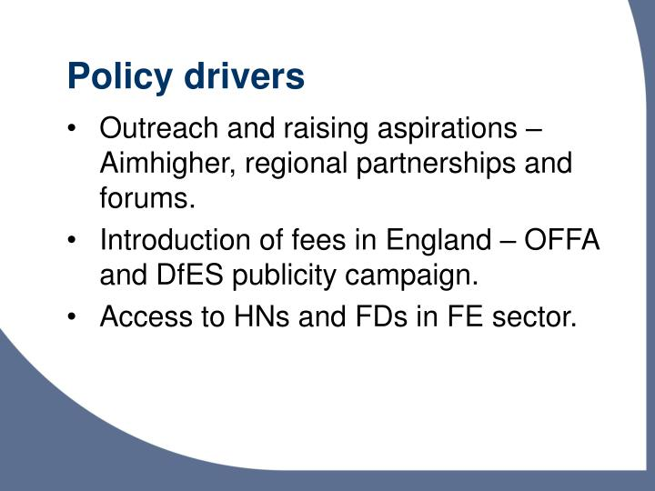 Policy drivers